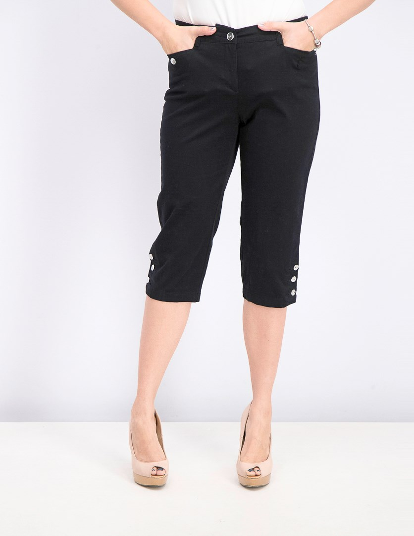 Women's Petite Button-Hem Capri Pants, Deep Black