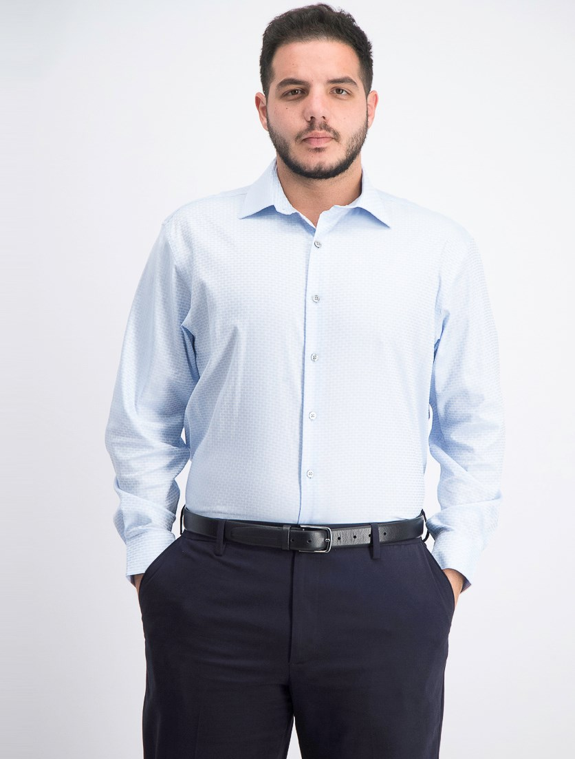 Men's Regular Fit AlfaTech Dobby Shirt, Light Blue