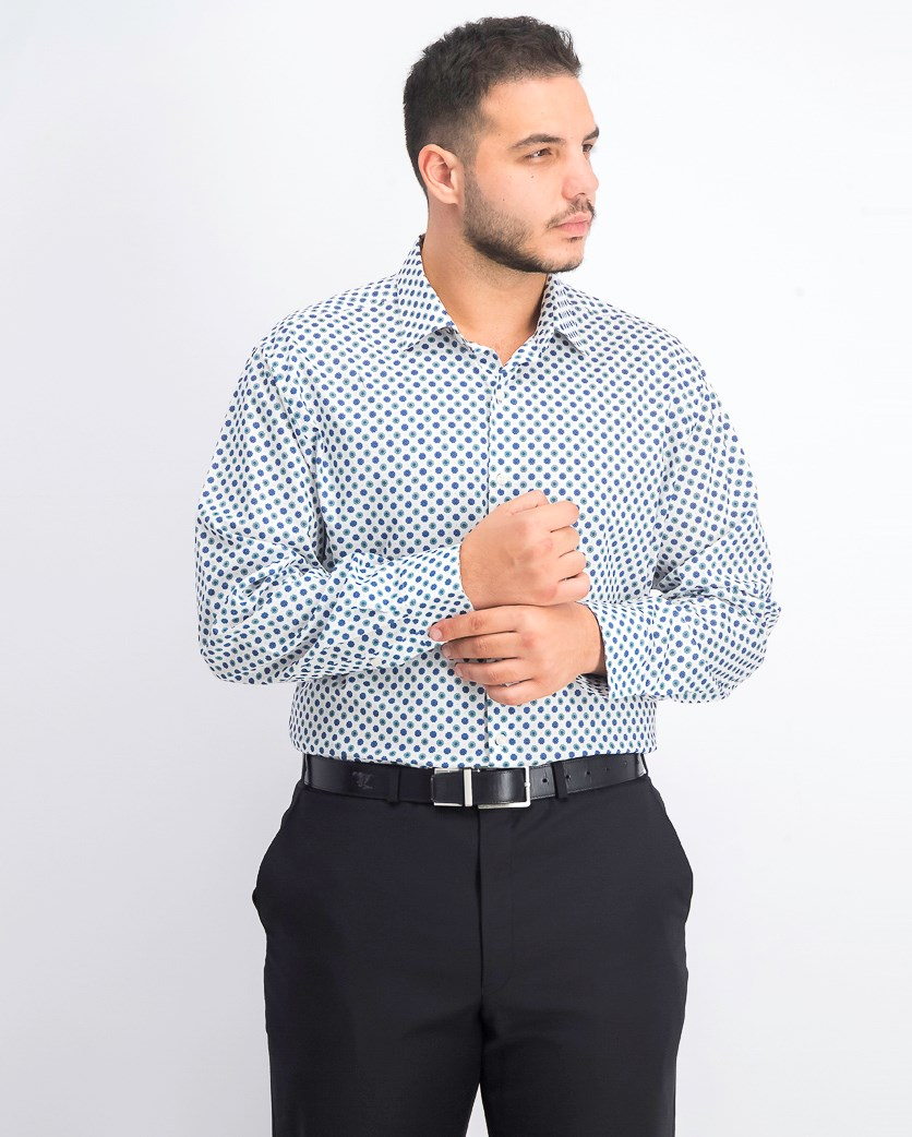Men's Slim-Fit Performance Stretch Daisy Dot Dress Shirt, White Teal
