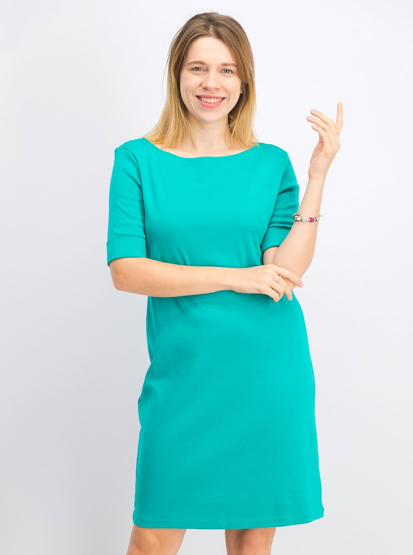Women's Petite Cotton Elbow-Sleeve Dress, Classic Teal