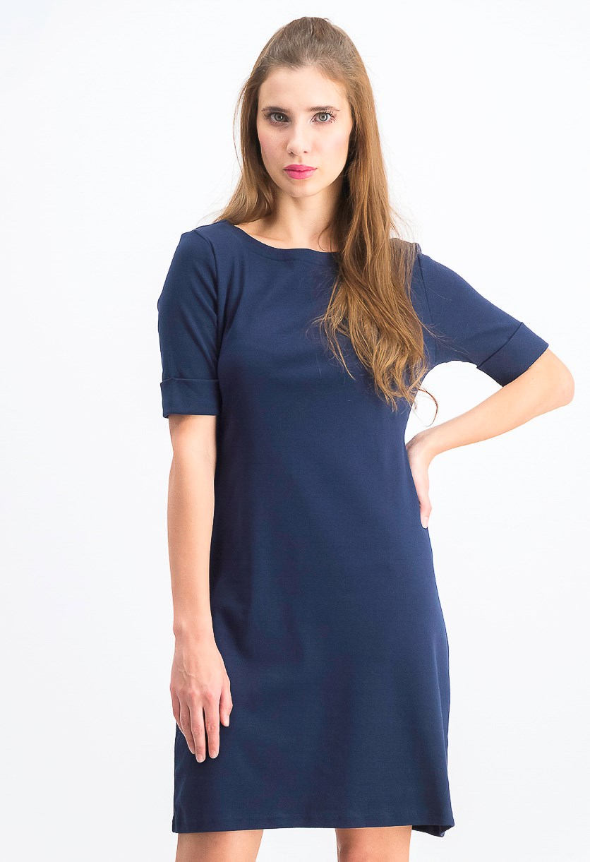 Women's Petite Cotton Elbow-Sleeve Dress, Intrepid Blue