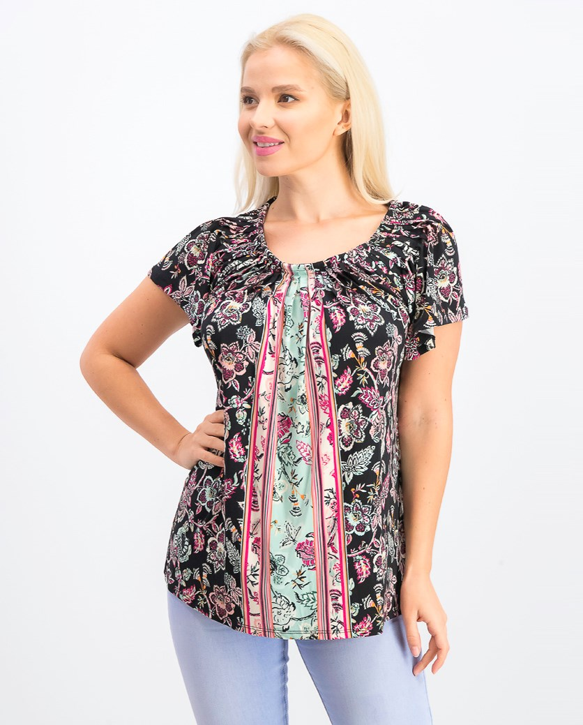 Women's Pleated-Neck Floral-Print Top, Melody Black