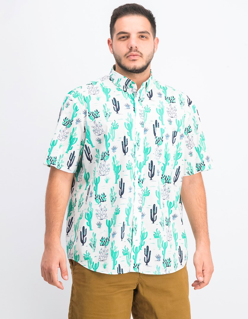 Men's Arizona Cactus Shirt, Bright White/Green