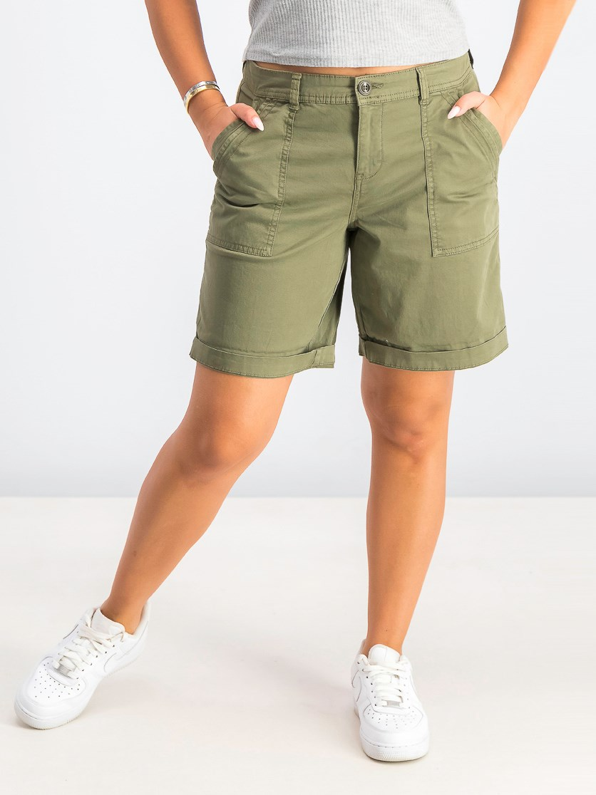 Women's Double-Pocket Cuffed Shorts, Olive Sprig