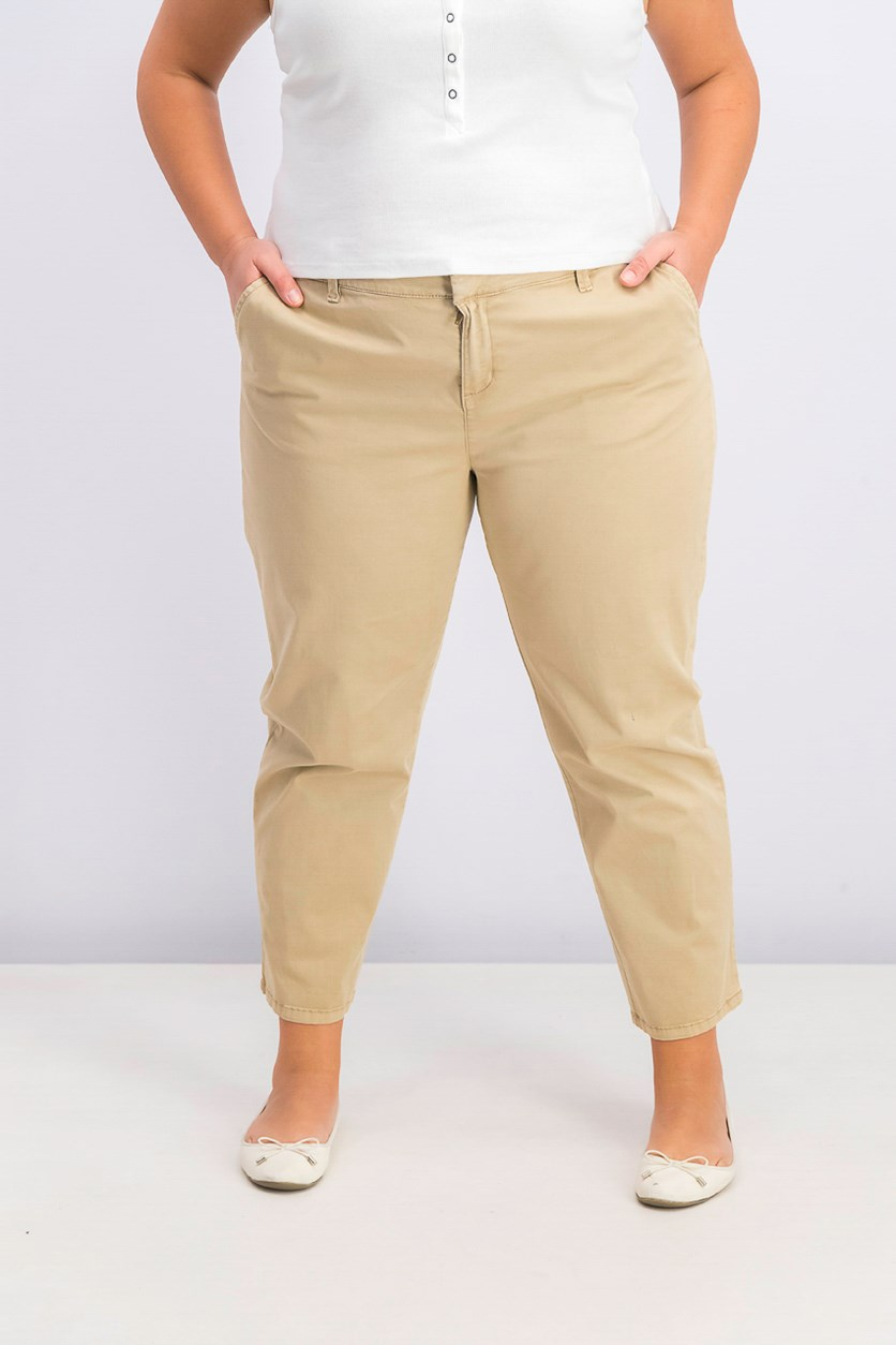 Women's Chino Pants, Almond Khaki