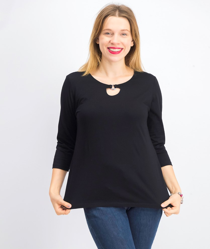 Petite Ring Hardware Scoopneck Top, Deep Black