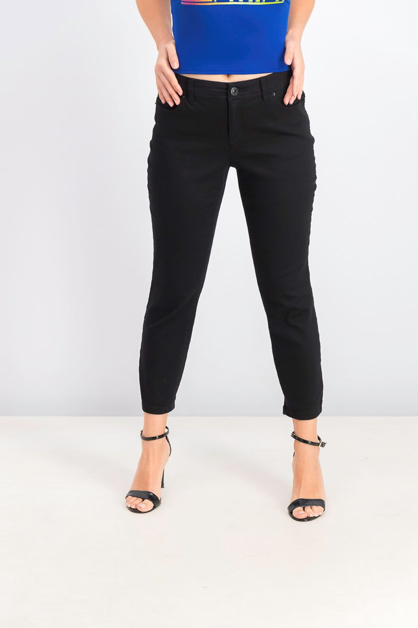 Women's Curvy-Fit Cropped Skinny Jeans, Black