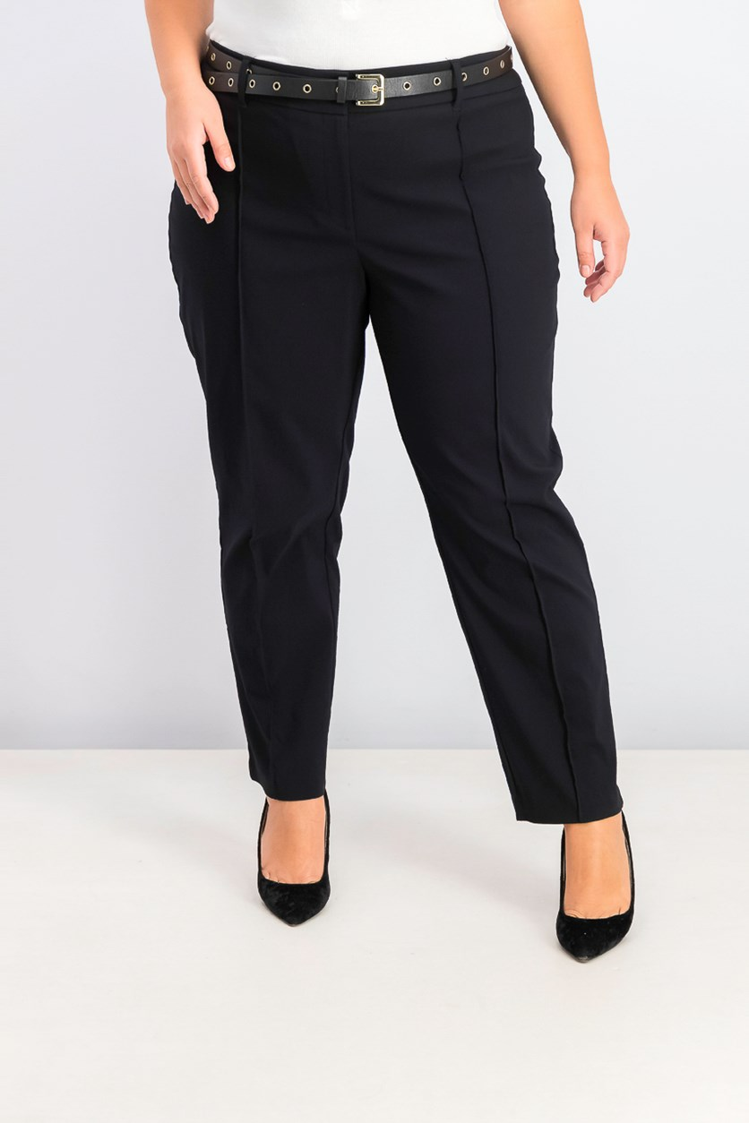 Women's Plus Size Belted Straight-Leg Pants, Black
