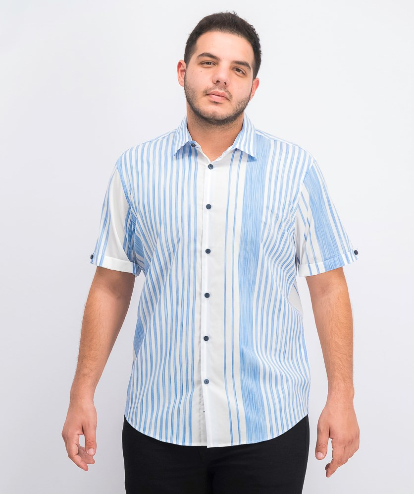 Men's Stretch Alvin Large Stripe Shirt, Blue/White