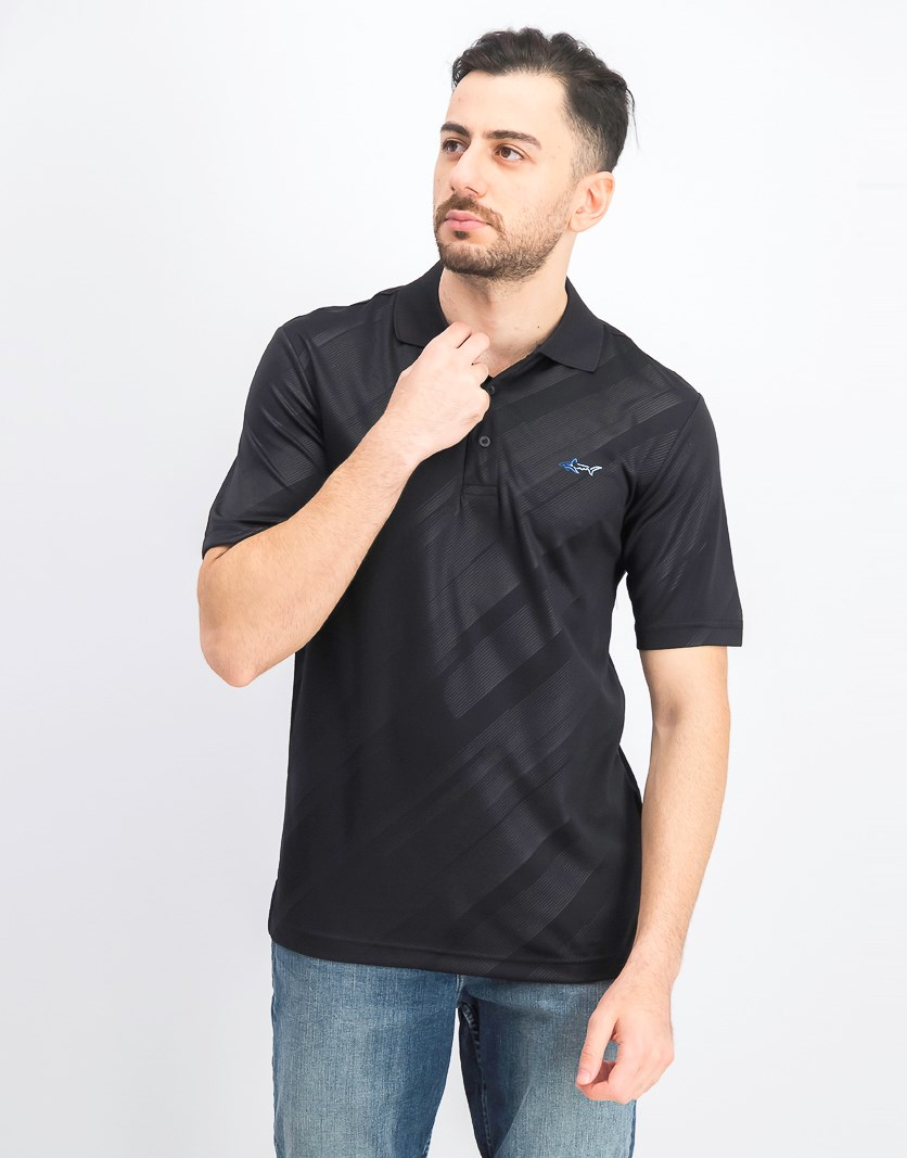 Men's Embossed Logo Polo, Black