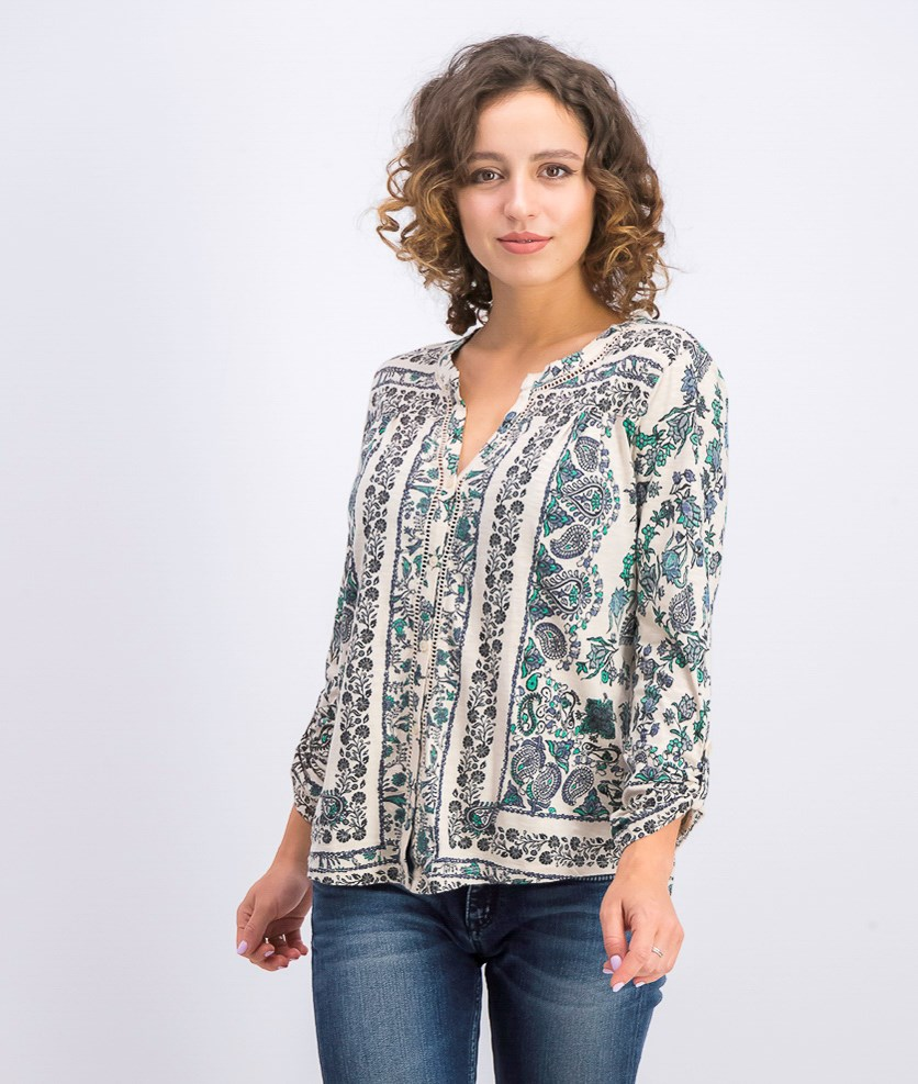 Women's Petite Printed Roll-Tab Shirt, Scarf Solitude