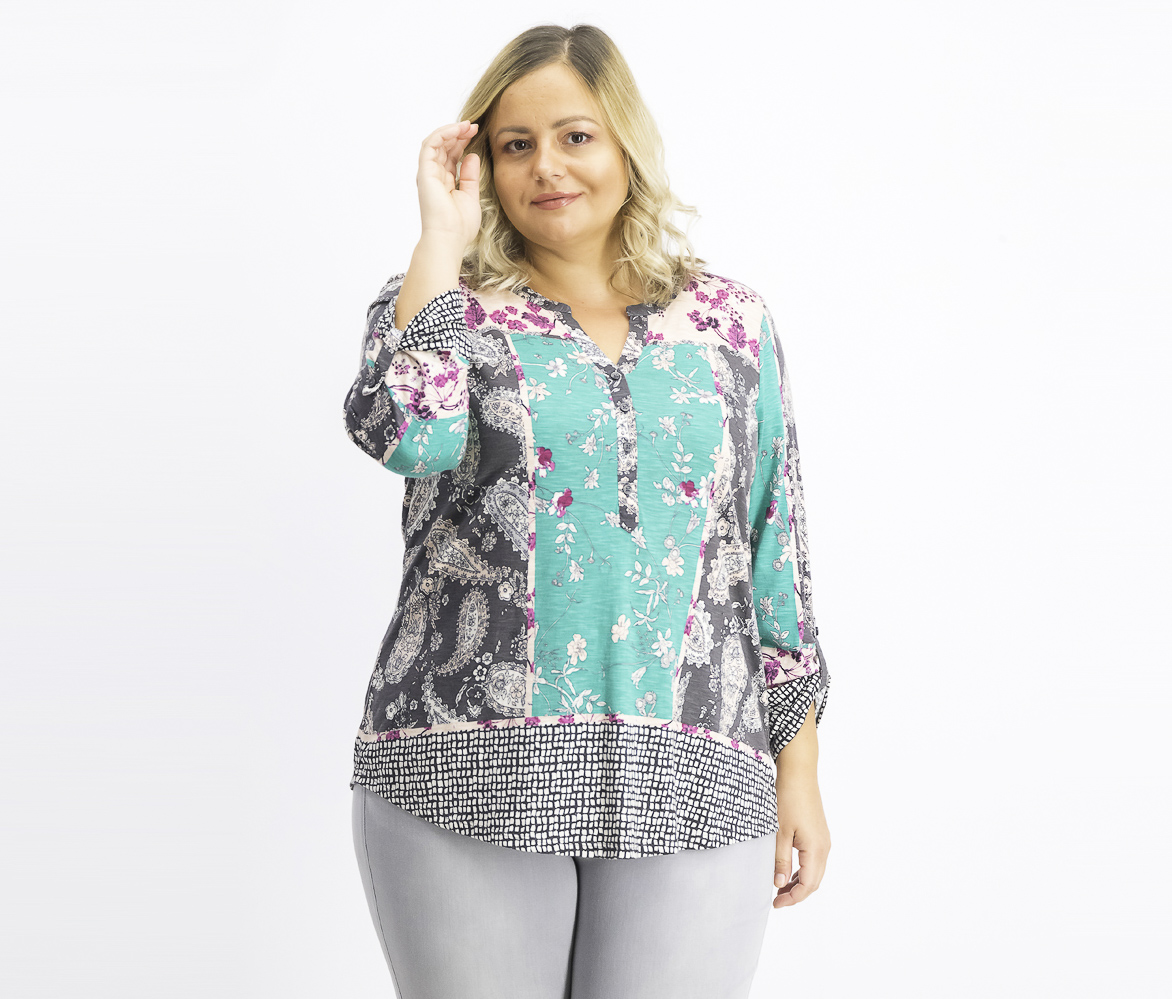 Women's Plus Size Printed Button-Neck Top, Serene Scarf