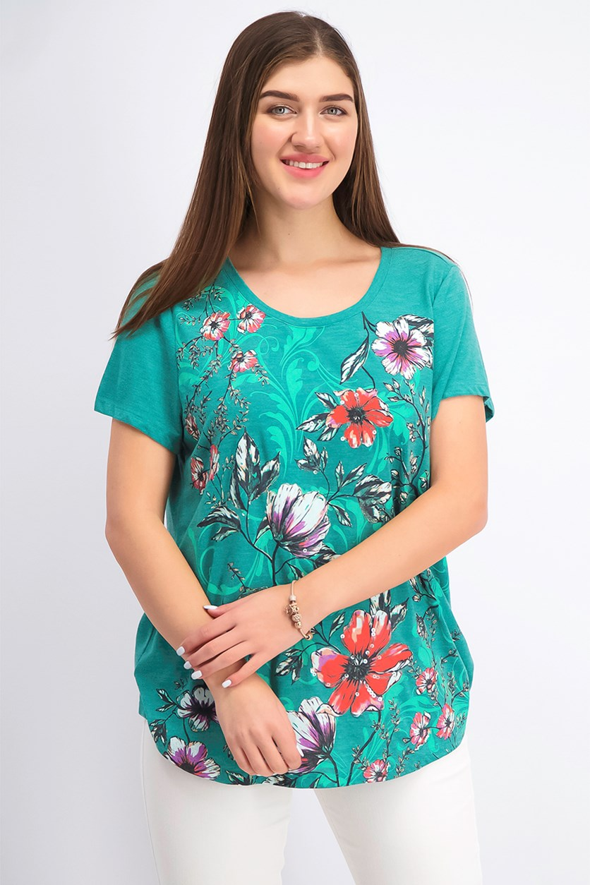 Women's Floral-Print T-Shirt, Busy Blooms