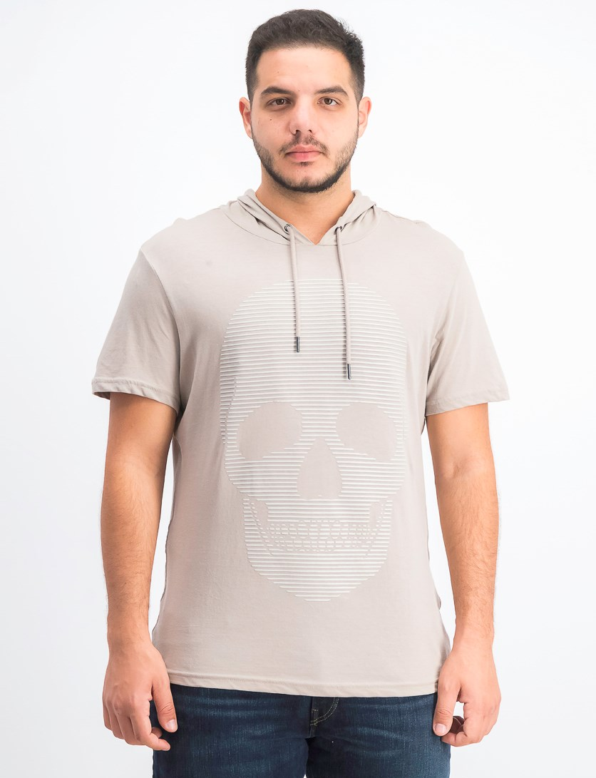 Men's Skull Graphic Hooded T-Shirt, Tiramisu