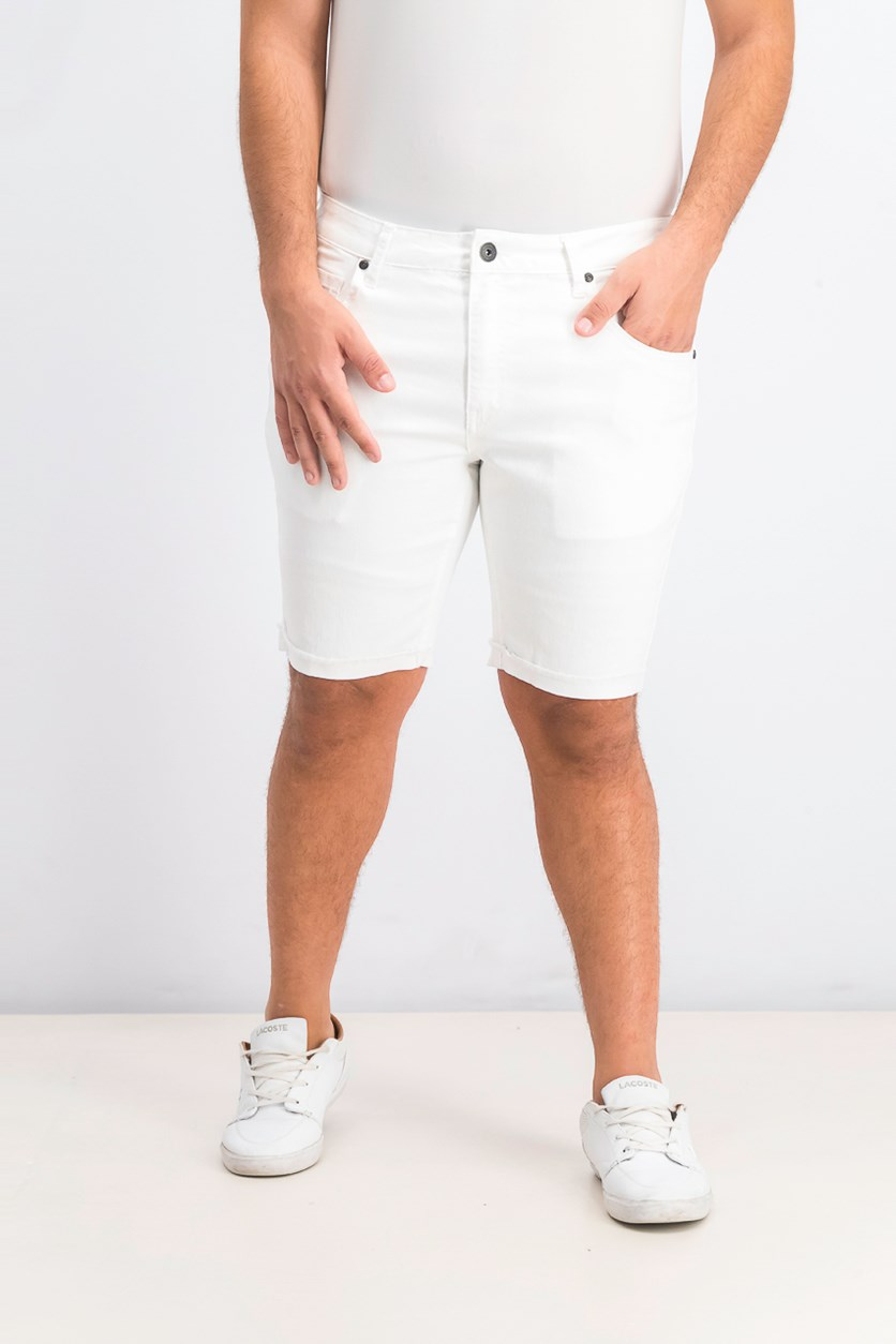 Men's Cuffed Denim Shorts, White