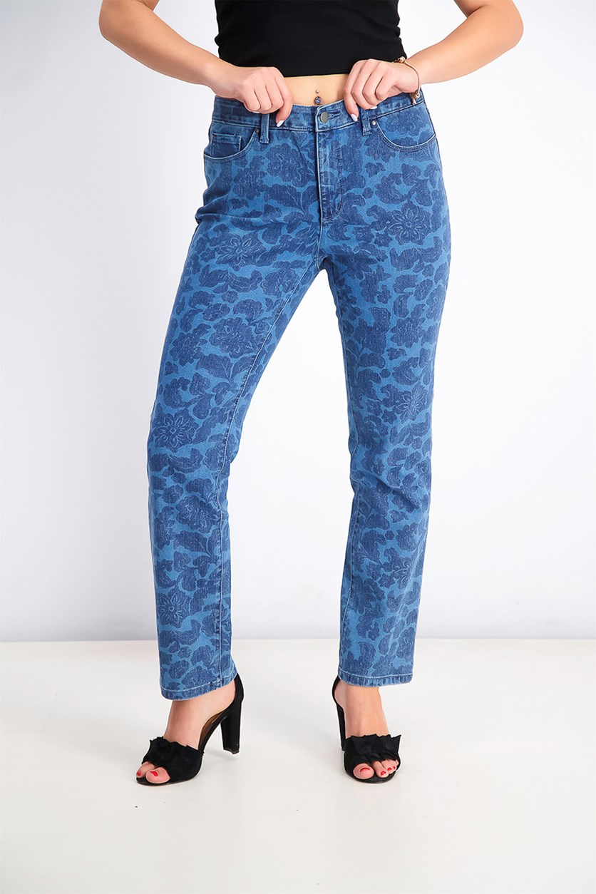 Straight-Leg Tummy-Control Jeans, Intrepid Blue Combo