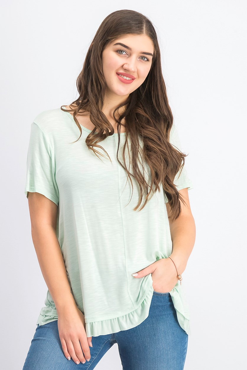 Women's Ruffled-Hem Top, Mint Fizz