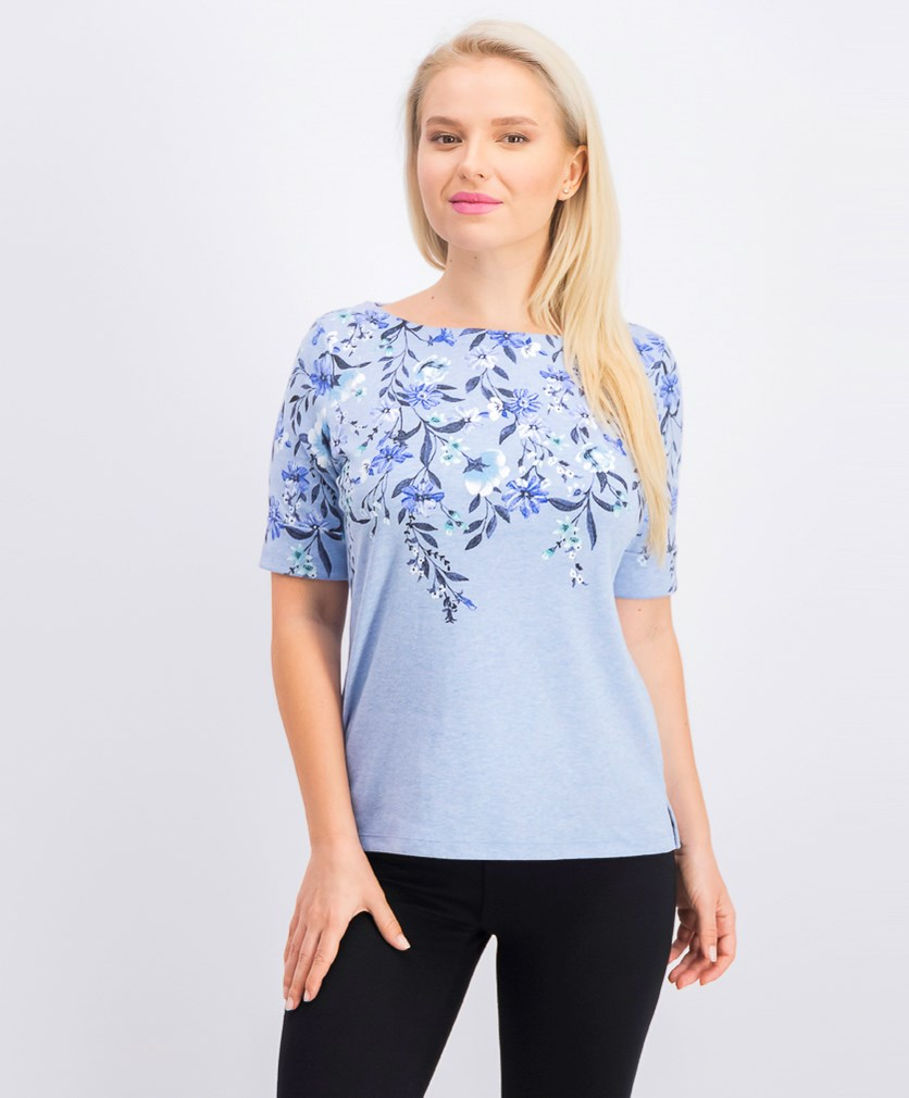 Women's Petite Floral-Print Boatneck Top, Light Blue Heather