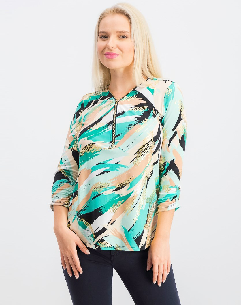 Women's Petite Metallic-Print Top, Bermuda Brush