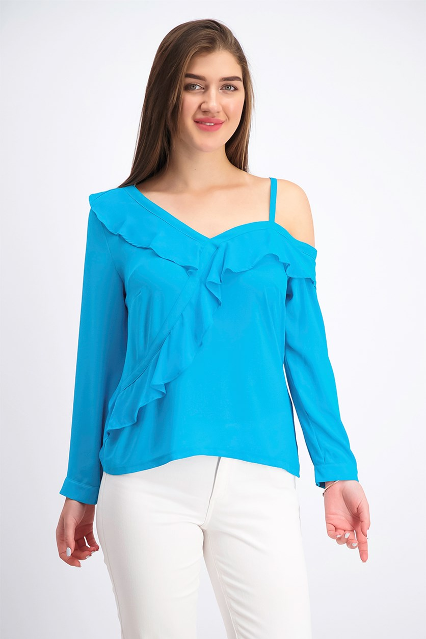 Womens Petite Ruffled Cold-Shoulder Top, Cribbean Blue