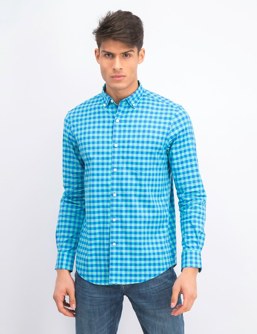 Men's Stretch Gingham Shirt, Spearmint