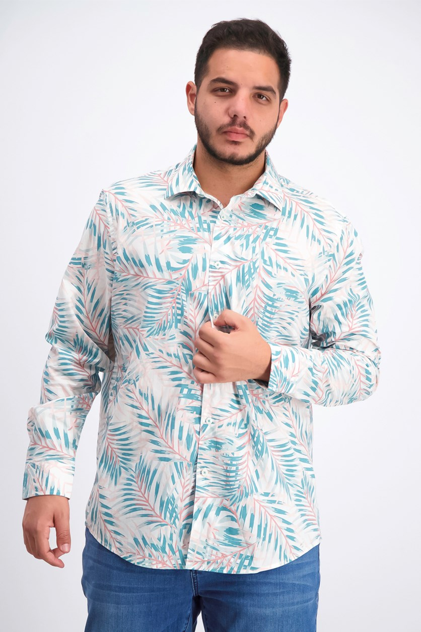 Men's Palm Print Shirt, Teal Combo