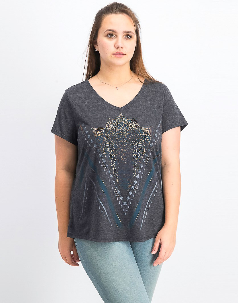 Women's Metallic Graphic T-Shirt, Chevron Border