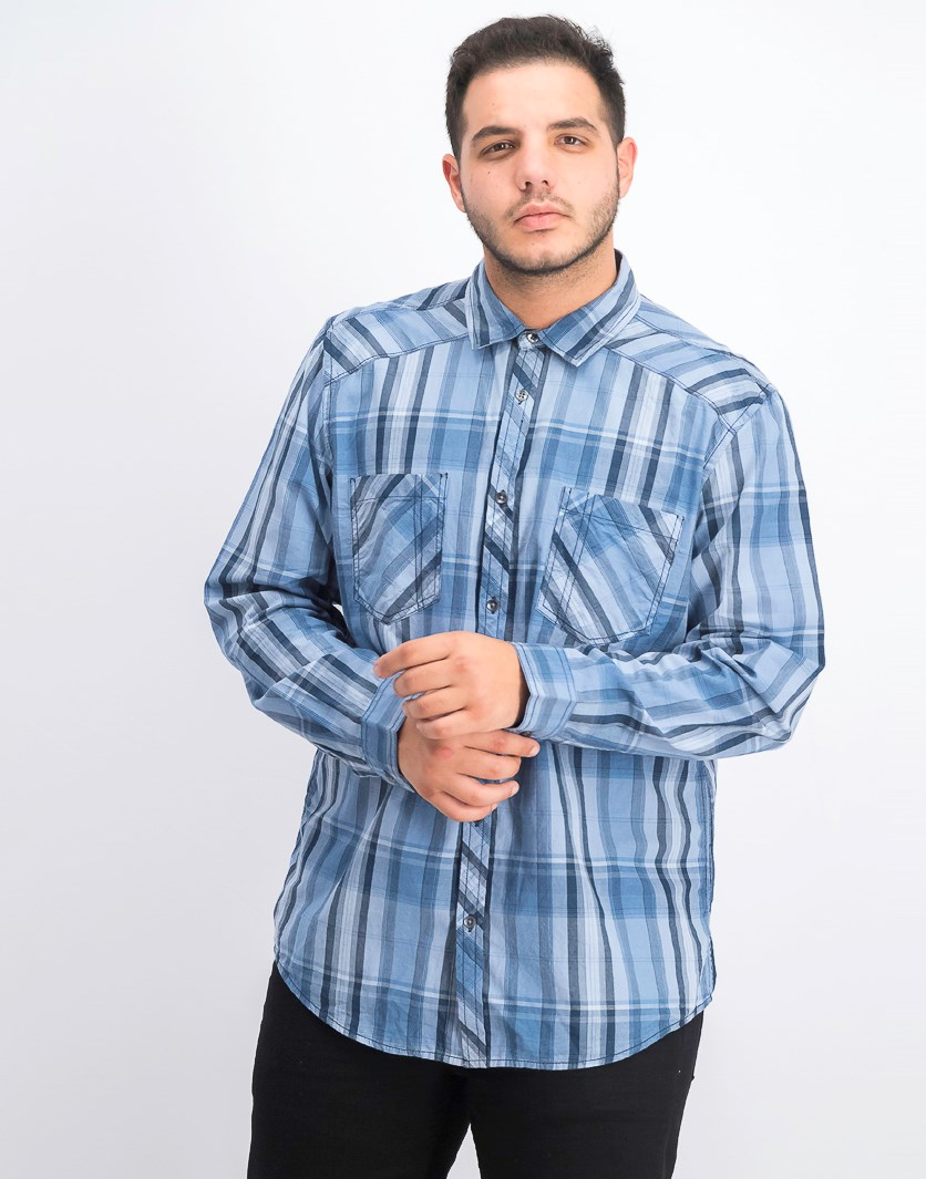 Men's Aaron Plaid Shirt, Basic Navy