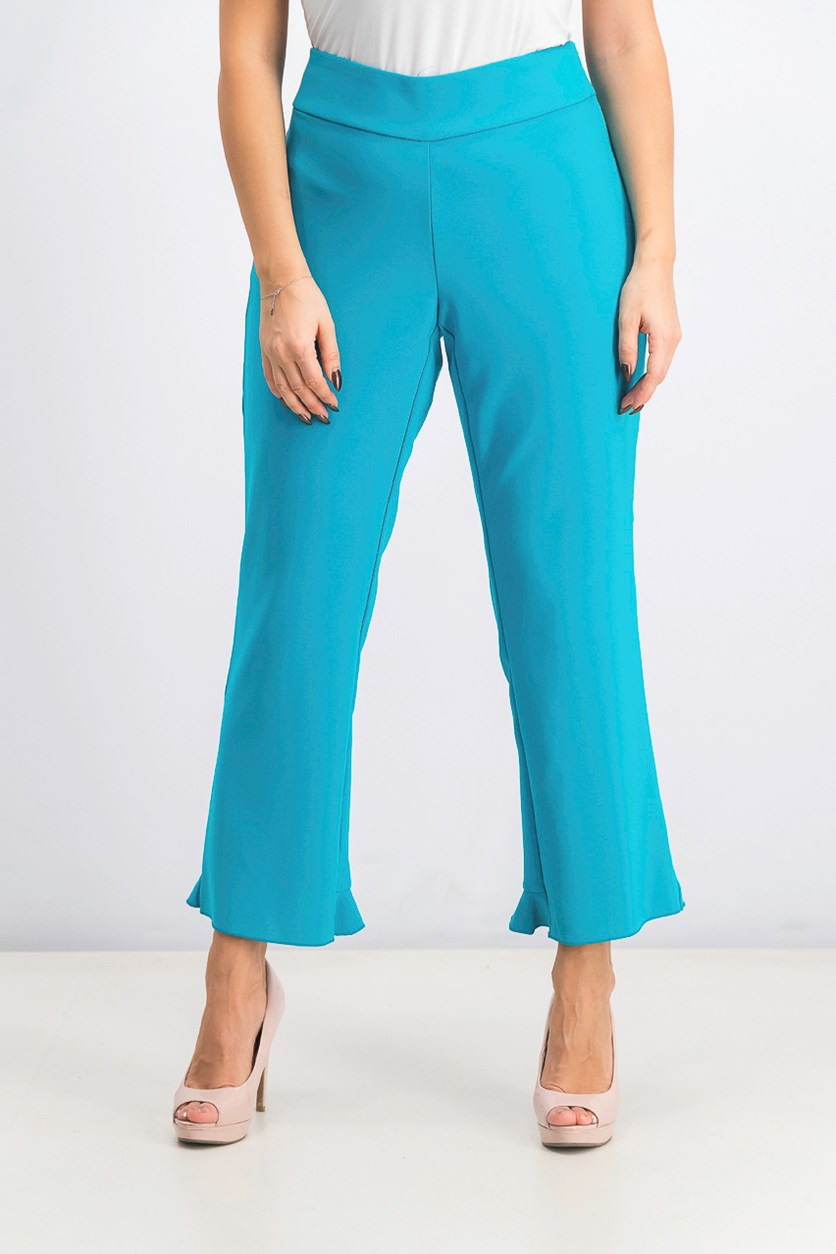 Women's Ruffled-Hem Ankle Skinny Pants, Caribbean blue
