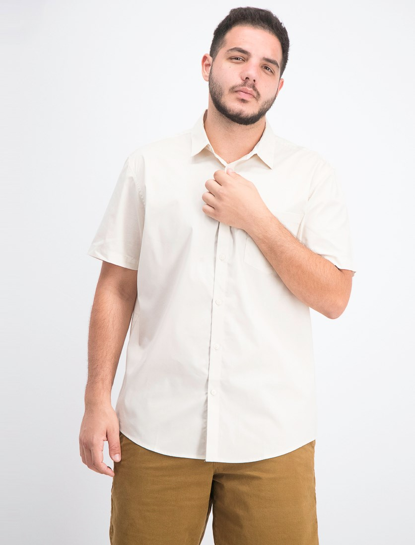 Men's Short-Sleeve Pocket Shirt, French Vanilla