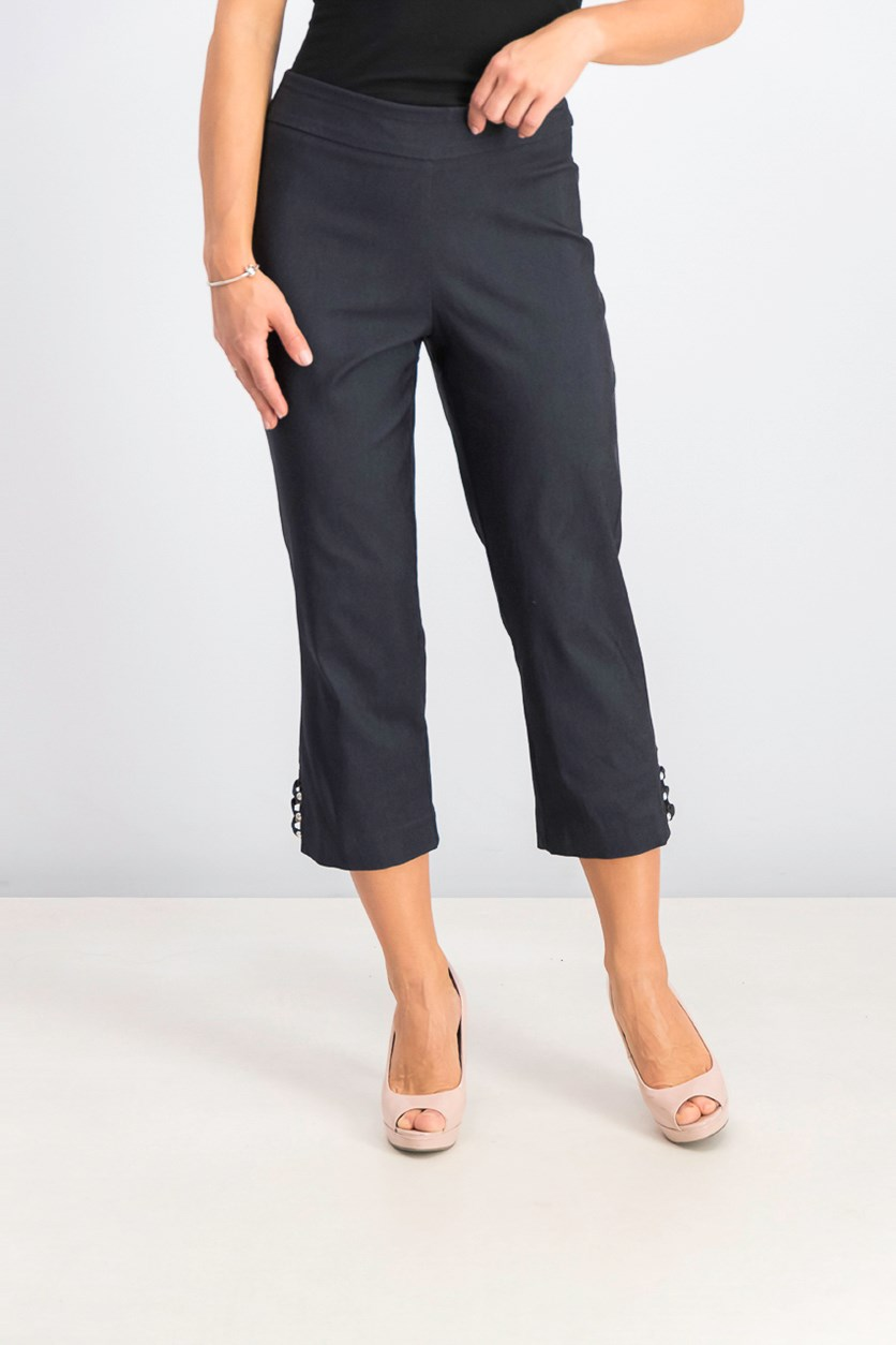 Women's Pull-on Lattice-Inset Capri Pants, Waverly Denim