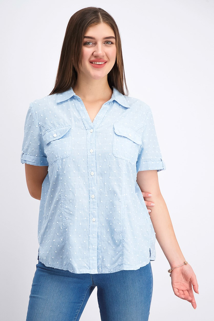 Women's Petite Cotton Textured Striped Shirt, Blue Chambray Combo