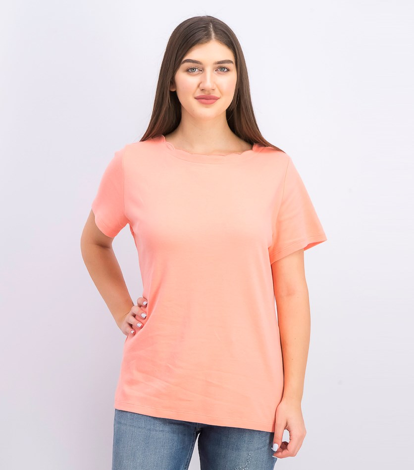 Womens Scallop Neck Top, Coral Lining