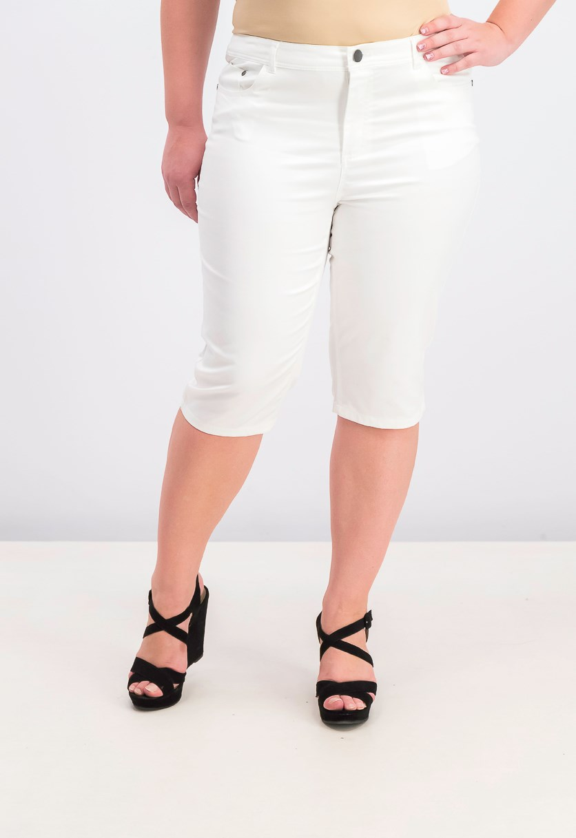 Women's Mid-Rise Knee-Length Skimmer 3/4 Pants, Bright White