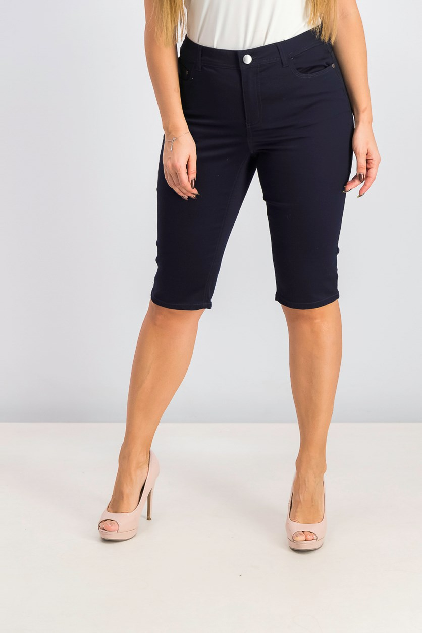 Womens Mid-Rise Knee-Length Skimmer, Deepest Navy