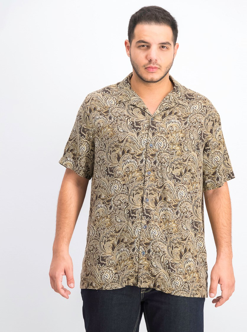 Men's Silk Paisley Button-Down Shirt, Black Combo/Olive