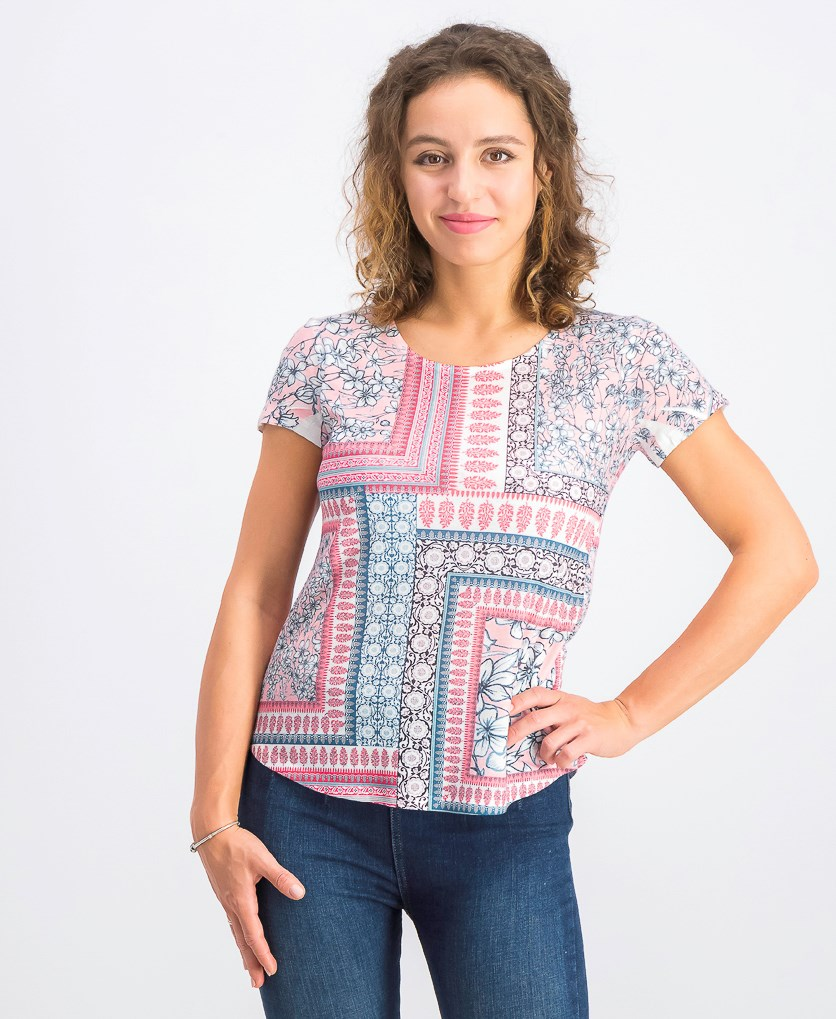 Women's Petite Printed Top, Garden Rooms Pink