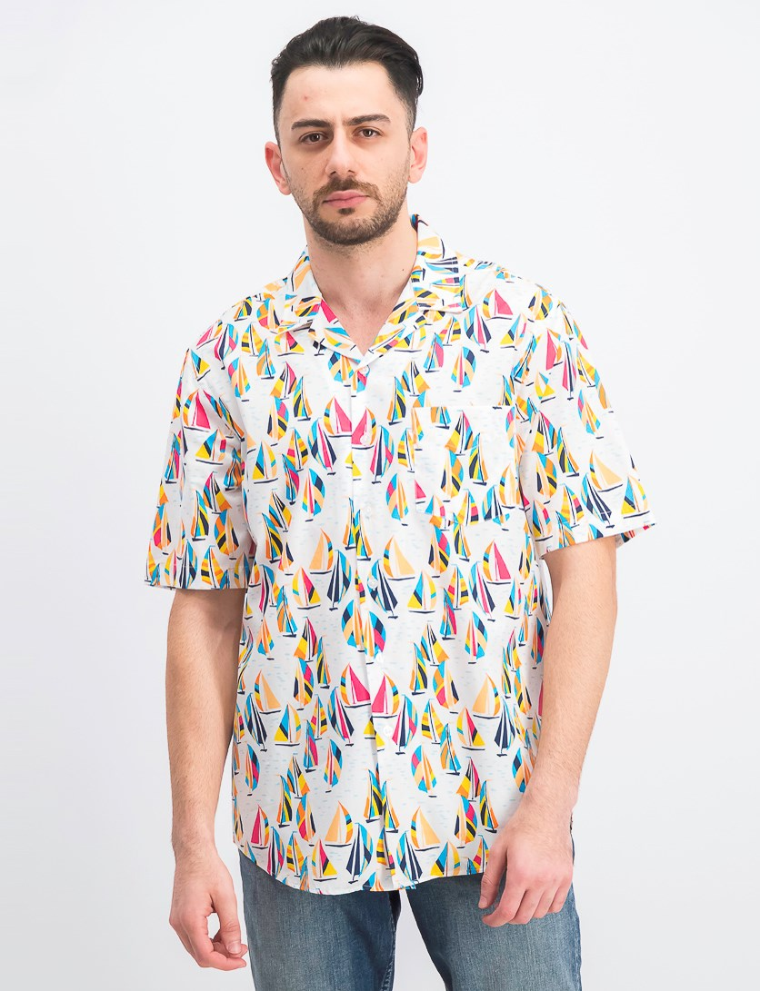 Men's Sailboat-Print Shirt, Bright White Combo