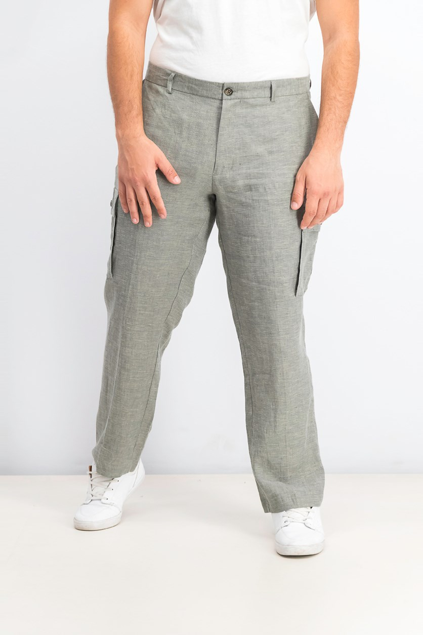 Men's Chambray Linen Cargo Pants, Tuscan Sage