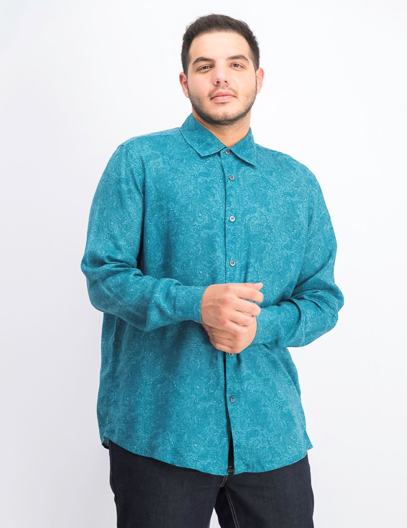 Men's Paisley Linen Casual Shirt, Teal Combo