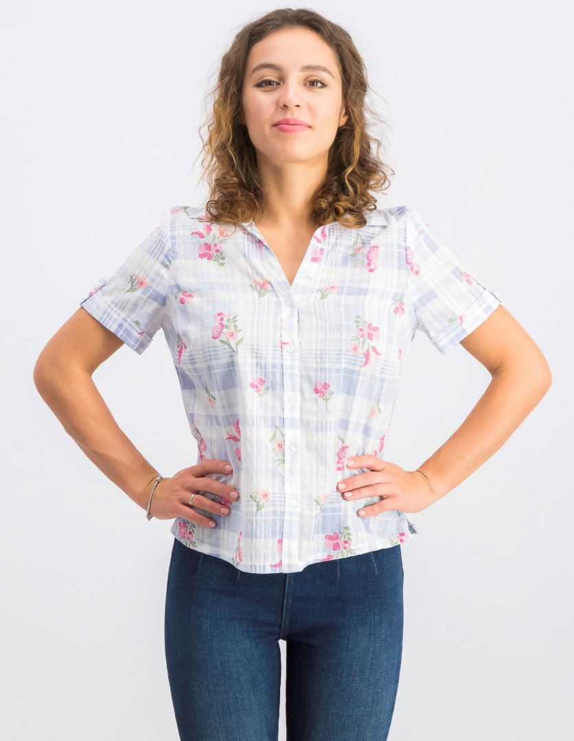 Petite Floral-Detail Plaid Shirt, Blue Chambray Combo