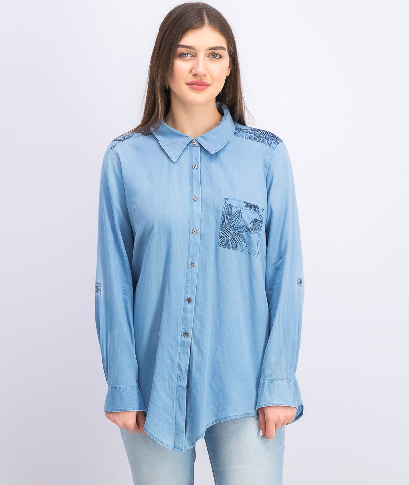 Women's Tie-Front Cotton Top, Sketched Patch