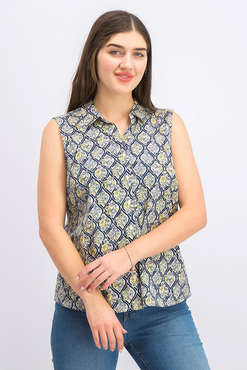 Women's Petite Sleeveless Button-Up Shirt, Citron Aura Combo