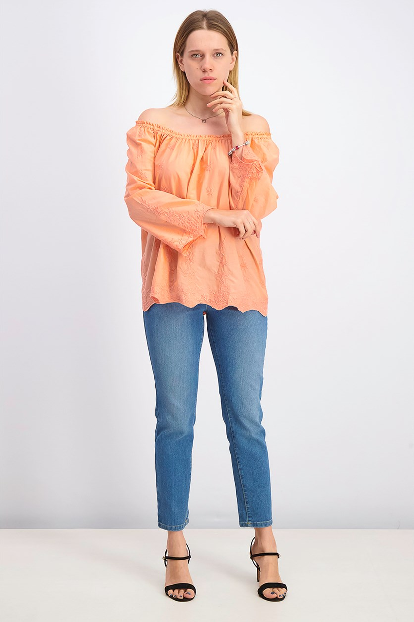 Women's Convertible Embroidered Cotton Top, Peach Amber