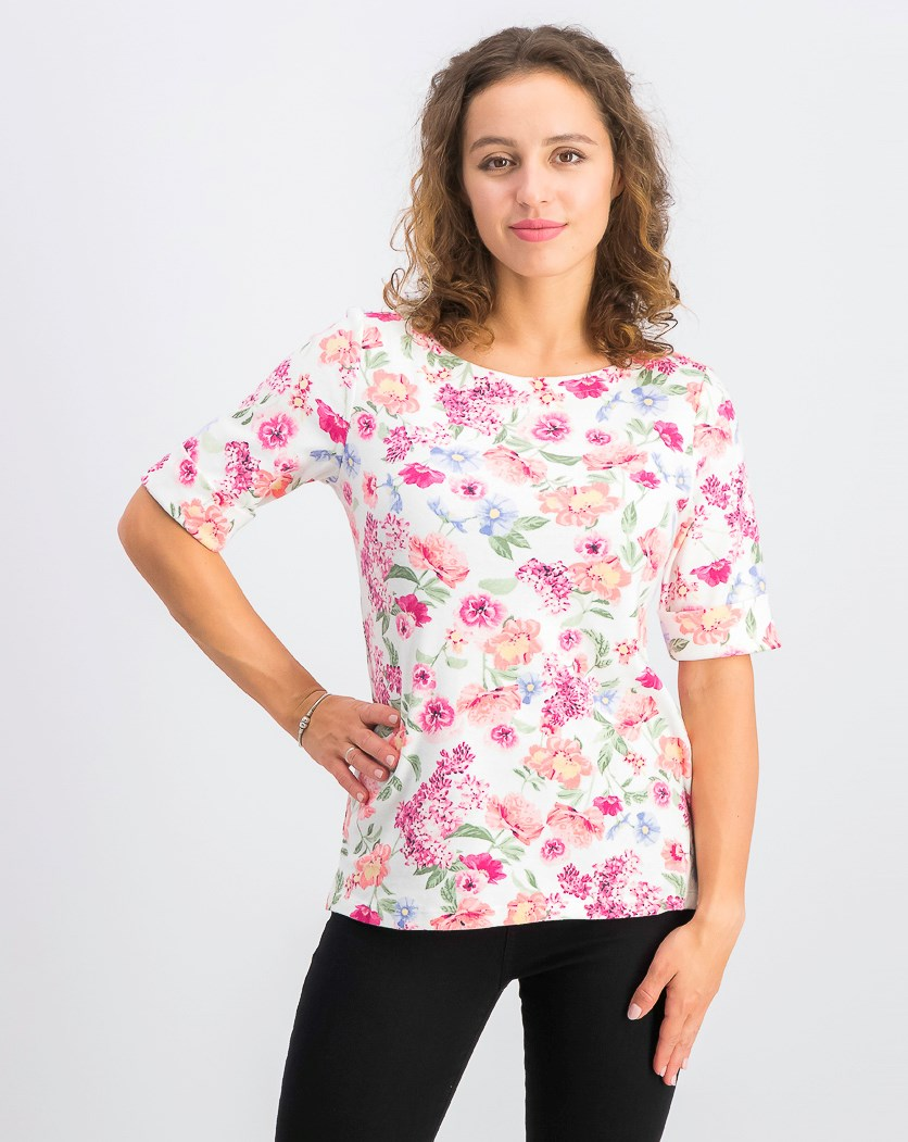 Women's Floral-Print Boat-Neck Top, Bright White