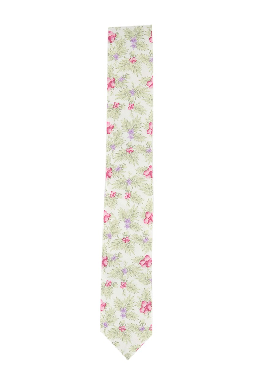 Men's Tropical Hibiscus Skinny Tie, White/Pink