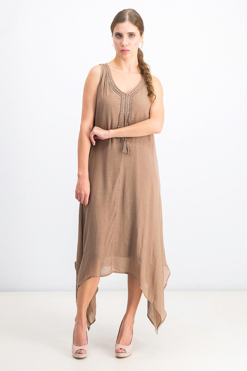 Women's Asymmetrical-Hem Tassel Dress, Birds Nest