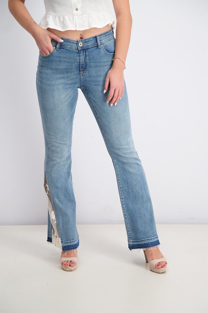 Women's Lace-Detail Flare Jeans, Med Indigo