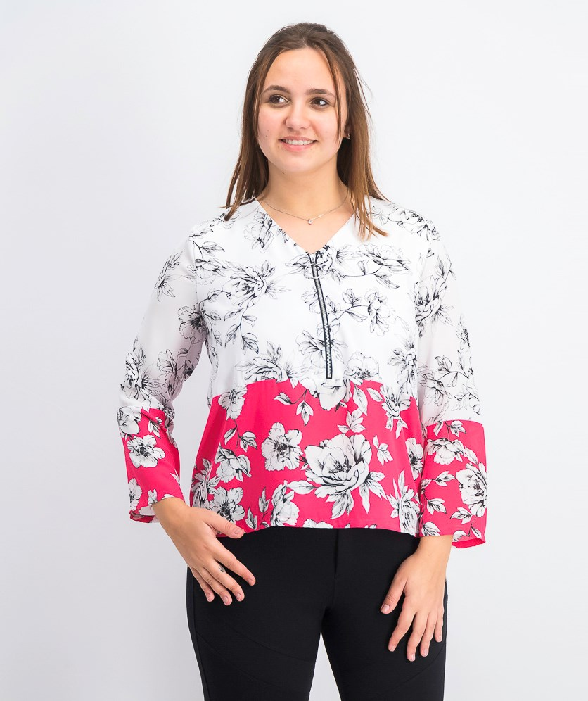 Women's Petite Printed Zip-Front Top, White/Pink/Black