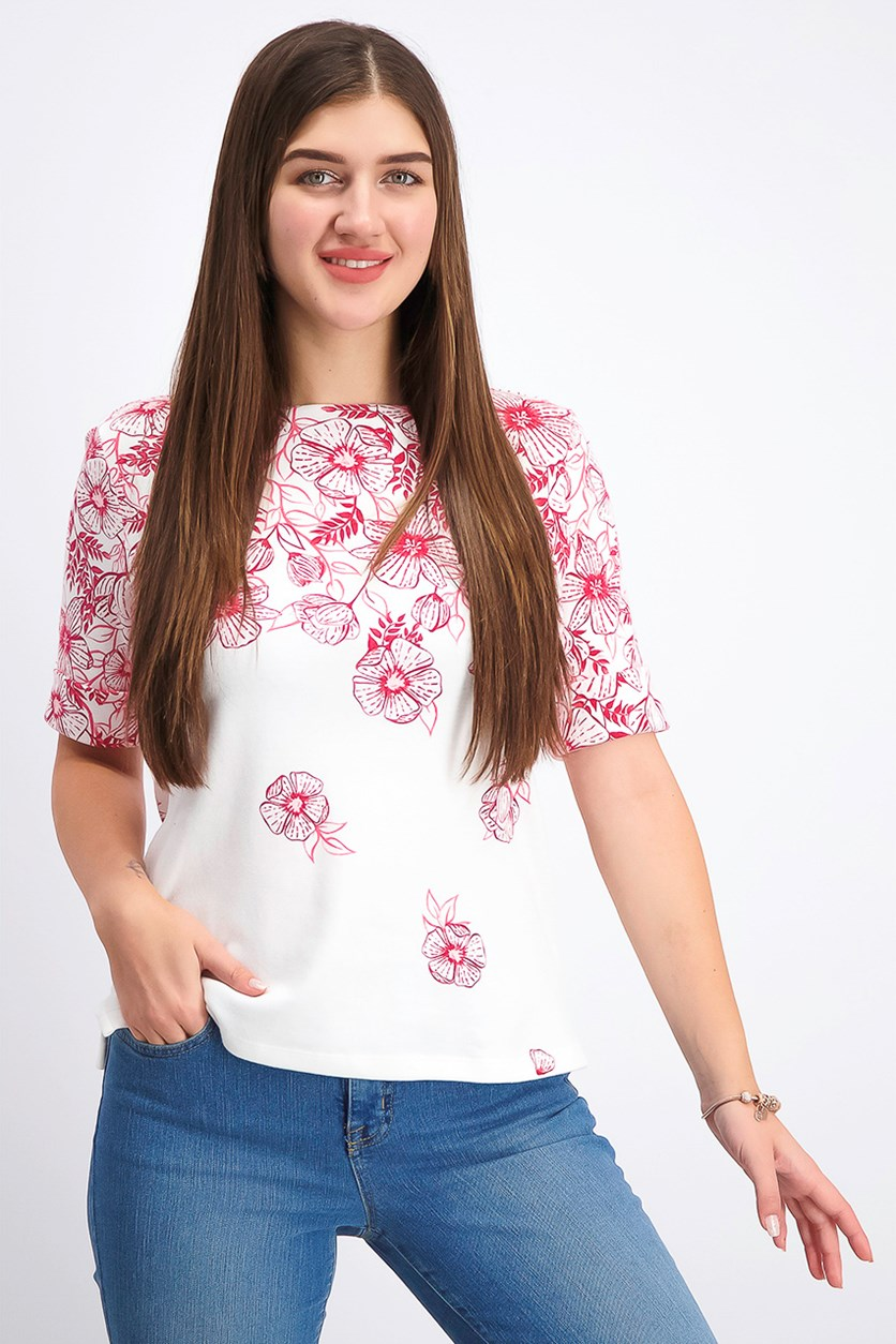 Women's Petite Printed Top, Steel Rose